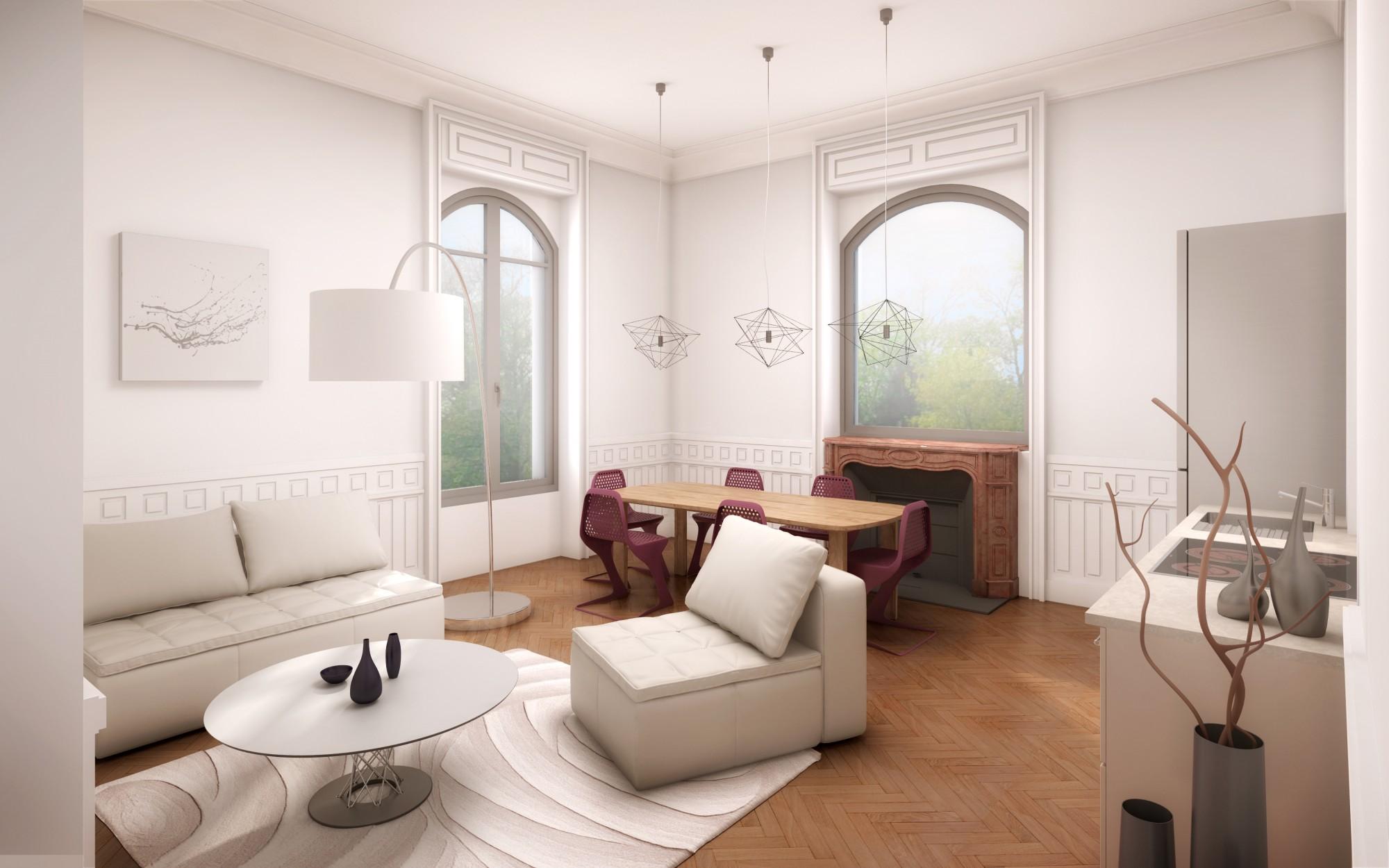 Projet d'aménéagement d'un plateau à rénover dans une résidence de prestige au charme authentique à Saint Didier au Mont d'Or