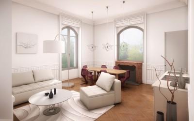 Aménagement intérieur T 3 La Villa Floritia plateau à rénover